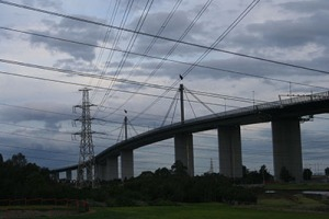 View of the West Gate Bridge with powerlines