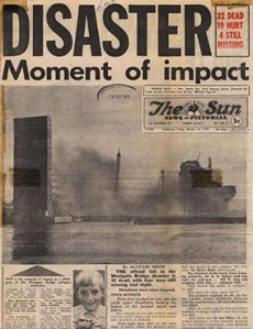 Disaster report front page of the Sun newspaper