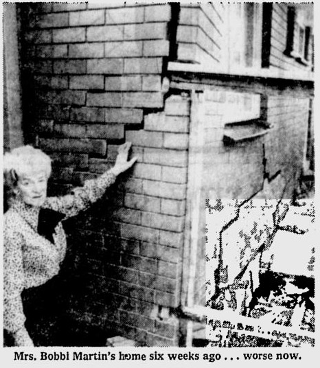 Sinking house, Yarraville, 1973