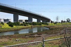 View of the West Gate Bridge and Stony Creek