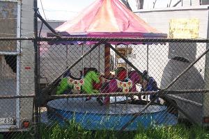 carousel in a junkyard