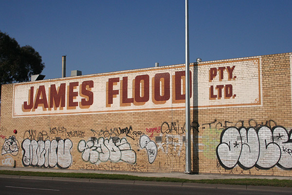 Large James Flood Pty Ltd sign