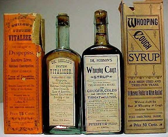Patent medicine bottles, c. 1890