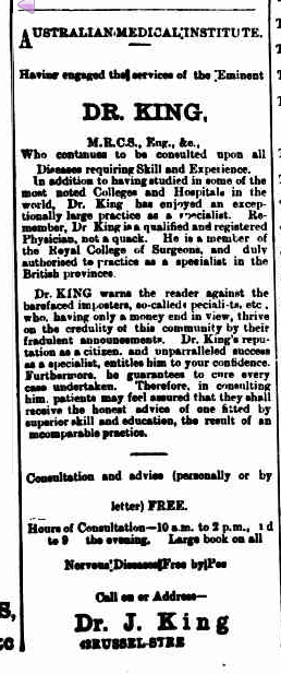 Advertisement for Dr King from the Emeral Hill Record, 20 Dece,ber 1890.