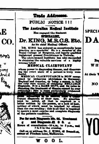 Advertisement for Dr King from the Kerang Times 14 March 1890.
