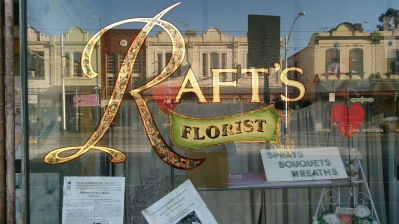 Rafts florist window display