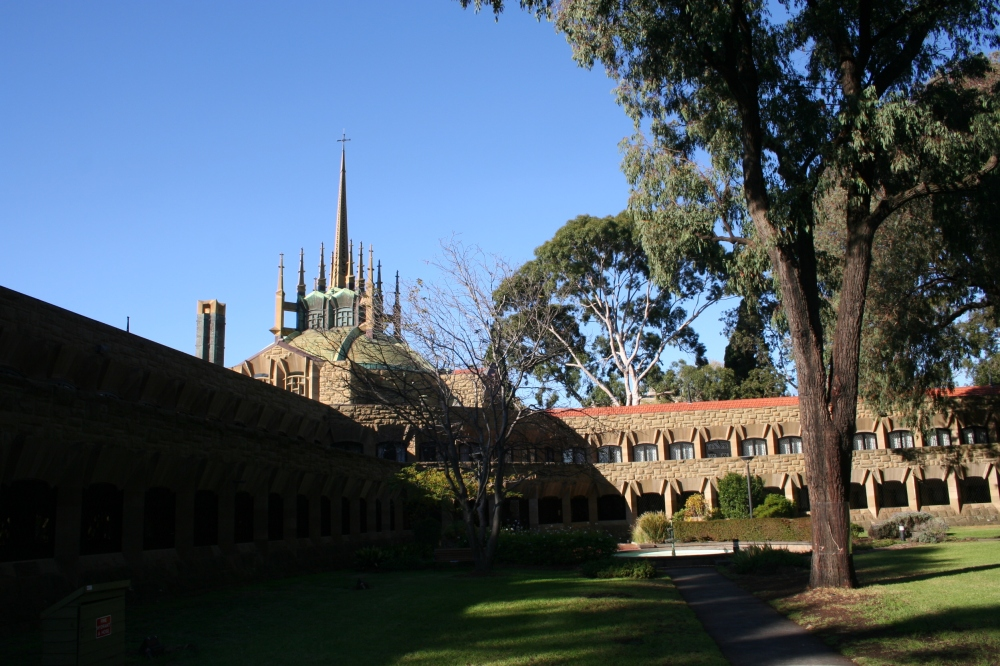 View of the spires from the quadrangle.