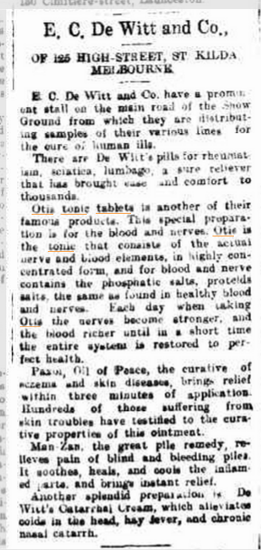 Newspaper clip from the Launceston Examiner, 4 October 1923, advertising DeWitt pharmaceutical products
