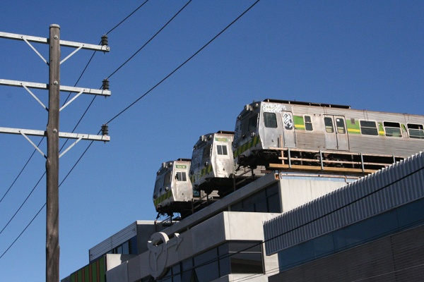 Trains on the roof in Easey Street