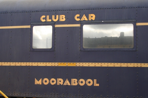 Restored train car with deco lettering