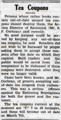 Tea coupons article, Western Herald, 5 March 1943